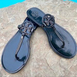 Tory Burch Women's Blk Stud Jelly Sandals SZ 5
